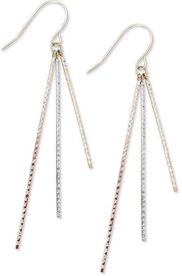 10k Tri-Tone Earrings, Diamond-Cut and Polished Dangle Earrings