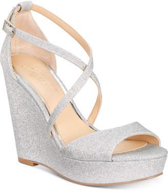 Badgley Mischka Averie Evening Wedge Sandals Women Shoes