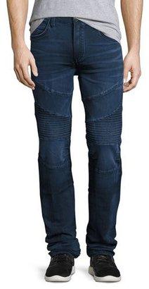 True Religion Rocco Moto Straight-Leg Denim Jeans, Indigo $229 thestylecure.com