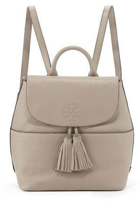 Tory Burch Thea Leather Tassel Backpack, French Gray $495 thestylecure.com