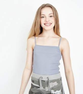 New Look Girls Pale Blue Ribbed Square Neck Cami