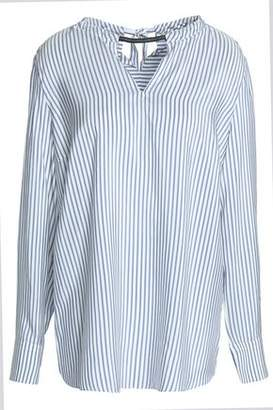 Brunello Cucinelli Bead-Embellished Cutout Striped Silk Tunic
