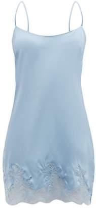 Fleur of England Iris Lace Trimmed Silk Blend Slip Dress - Womens - Light Blue