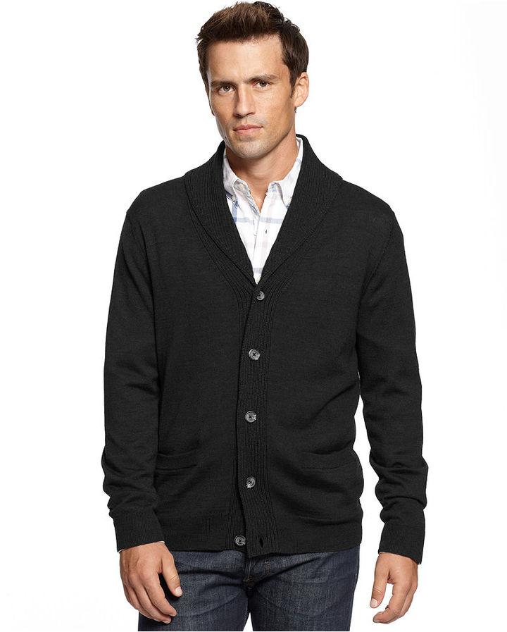 Club Room Sweater, Merino-Wool Blend Shawl-Collar Cardigan