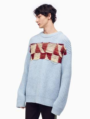 Calvin Klein quilted jacquard knit pullover