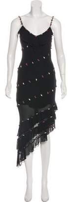 Sue Wong Silk Embroidered Sleeveless Dress