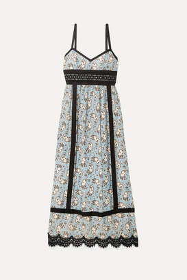 Anna Sui Corded Lace And Grosgrain-trimmed Printed Silk-chiffon Midi Dress - Light blue