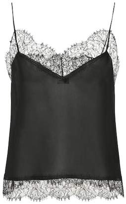 Saint Laurent Lace-trimmed silk camisole