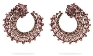 Oscar de la Renta Curved Crystal Embellished Earrings - Womens - Pink