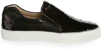 Stuart Weitzman Sequined Leather Sneakers