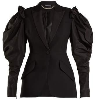 Alexander McQueen Contrast Sleeve Wool Blend Blazer - Womens - Black