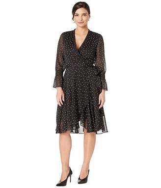 Tahari ASL Long Sleeve Chiffon Polka Dot Mock Wrap