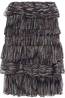 IRO Tiered Printed Gauze Mini Skirt