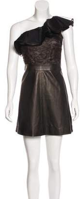 Valentino Leather One-Shoulder Dress