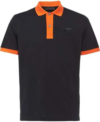 Prada two-tone piqué polo shirt