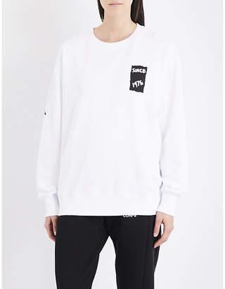 Boy London Ladies White and Black White&Black Round New Romantic Eagle Tape-Print Cotton-Jersey Sweatshirt