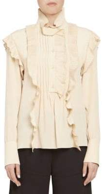 Chloé Pleated Ruffle Long Sleeve Silk Blouse