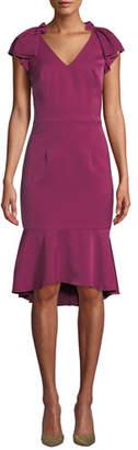David Meister V-Neck Flutter-Sleeve Flounce Dress