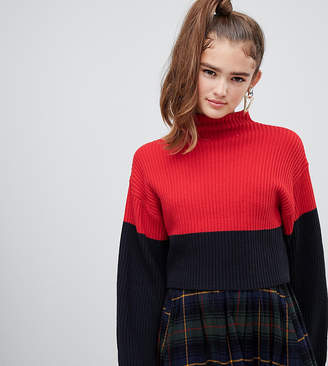 Monki textured cropped jumper with flared sleeves