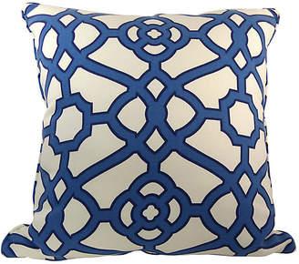 One Kings Lane Vintage Blue & White Lattice Pillow - Kakar House of Design