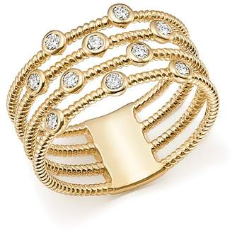 Bloomingdale's Diamond Multi Row Cable Ring in 14K Yellow Gold, 0.25 ct. t.w. - 100% Exclusive