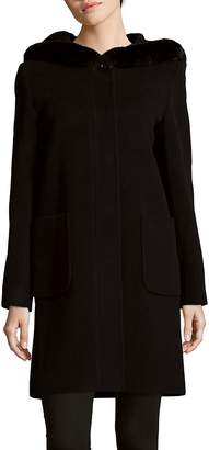 Cinzia Rocca Women's Rabbit Fur Trim Wool-Blend Coat
