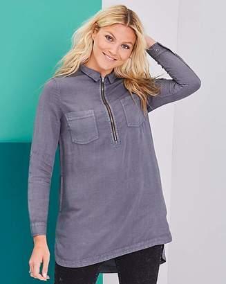 Fashion World Soft Tencel Denim Tunic with Zip Front