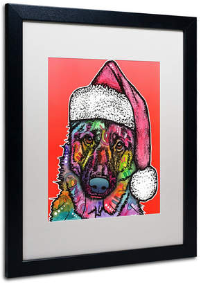 Dean Russo 'Christmas Dog' Matted Framed Art