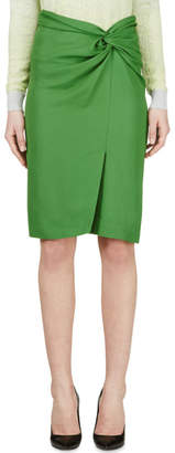 Cédric Charlier Green Wrap Pencil Skirt