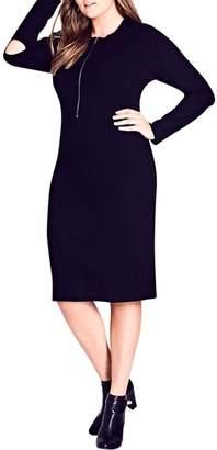 City Chic Zipped Up Sweater Dress
