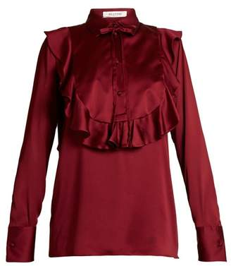 Valentino Ruffled Bib Satin Blouse - Womens - Burgundy