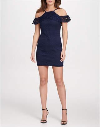 GUESS Cold Shoulder Lace Sheath Dress