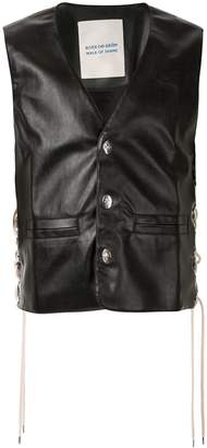 Walk Of Shame faux-leather tie-fastening waistcoat