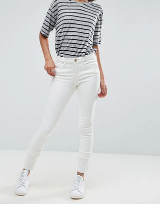 Asos Lisbon Skinny Mid Rise Jeans In Off-White