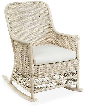 One Kings Lane Catalina Wicker Rocking Chair - Antiqued White