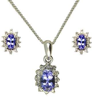 Ivy Gems 9ct White Gold Emerald and Diamond Earring and Pendant Set Curb chain of Length 46cm