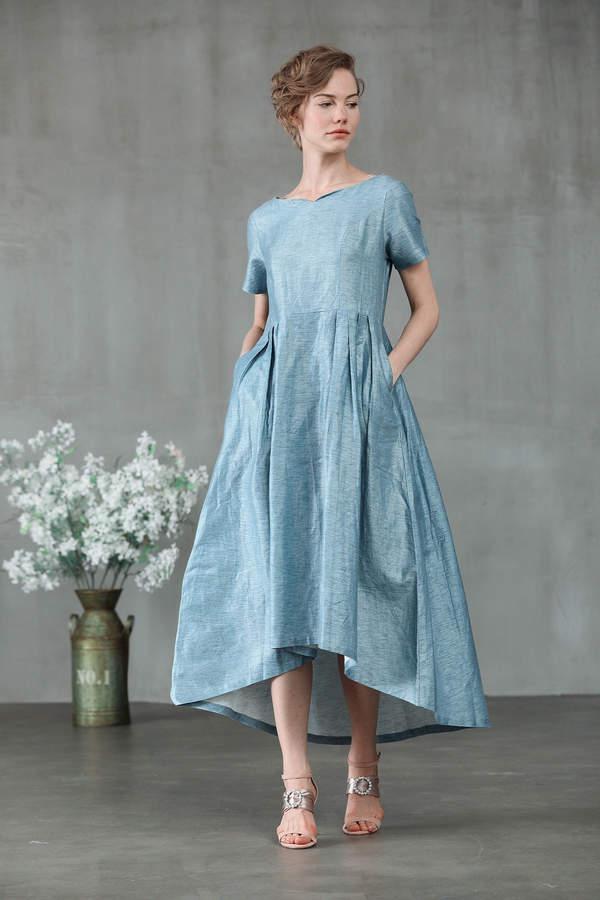 Etsy irregularly tailed dress, linen dress, blue dress, cocktail dress, maxi dress, midi dress, blue dres