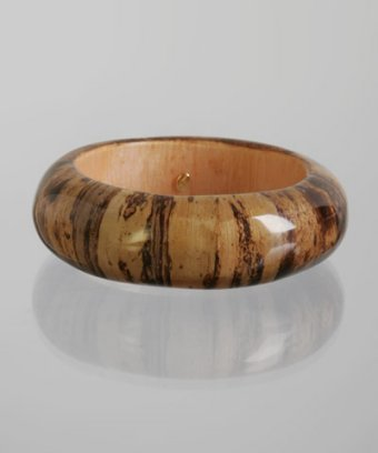 Kenneth Jay Lane brown wood grained resin bangle