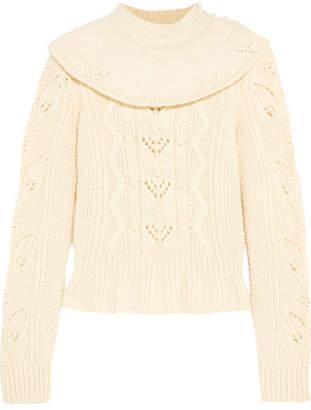 RED Valentino Ruffled Wool Sweater - Ecru