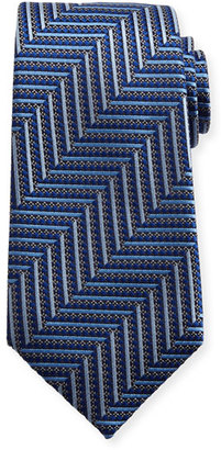 Ermenegildo Zegna Geometric Herringbone Silk Tie, Blue/Silver $245 thestylecure.com