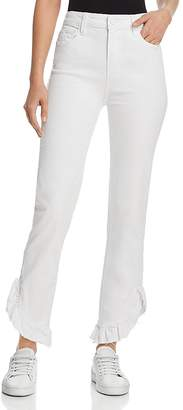 Paige Hoxton Straight Ruffle-Detail Ankle Jeans in Crisp White
