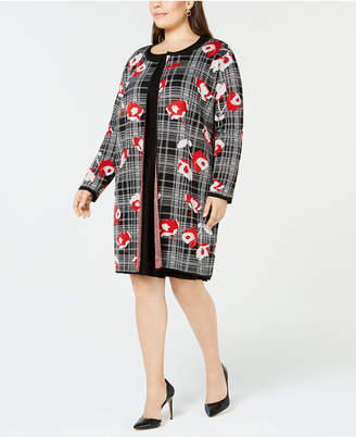 NY Collection Plus Size Jacquard Plaid Cardigan