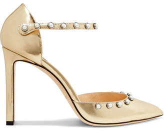 Jimmy Choo Leema 100 Embellished Metallic Leather Pumps - Gold