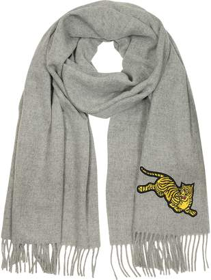 Kenzo Jumping Tiger Fringed Wool Scarf
