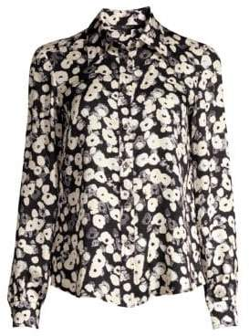 Derek Lam Long-Sleeve Button-Down Poppy Print Silk Blouse