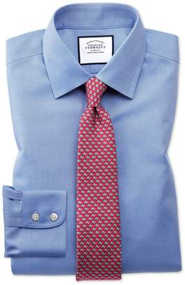 Charles Tyrwhitt Extra Slim Fit Non-Iron Royal Panama Blue Cotton Dress Shirt French Cuff Size 14.5/32