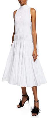 Anais Jourden Gathered Poplin Tie-Neck Sleeveless Midi Dress