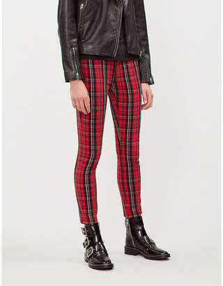 Current/Elliott The Stiletto tartan-print skinny mid-rise jeans