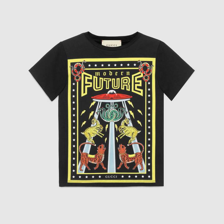 "Children's cotton t-shirt with ""Modern Future"" print 7"