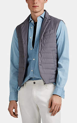 Eleventy Men's Quilted Tech-Twill Button-Front Vest - Gray